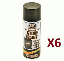 6 x da 400ml resistente calore MATT BLACK VERNICE SPRAY stufa di scarico ad alta temperatura.