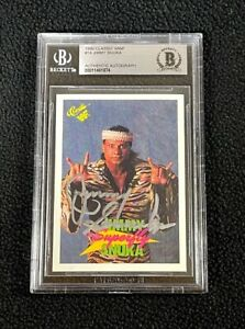 Jimmy Superfly Snuka Signed 1990 Classic WWF Card #14 WWE Beckett Certified