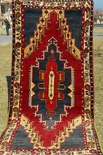 "Antique 3'7""×7""10"" Authentic  Natural Dyes Exquisite Wool Pile Area Rug"