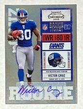 2010 VICTOR CRUZ Playoff Contenders #199 RC Rookie Ticket Auto NY Giants UMASS