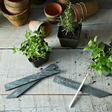 10 Natural Slate Garden Bush, Plant Markers Label Tag Pointed Stakes Herb Gift