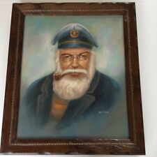 Large Vintage Oil Painting Bearded Sea Captain smoking Pipe signed G Fobis