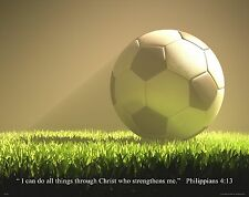 Religious Motivational Poster Print 11X14 Soccer Balls Philippians 4:13  RELG24
