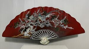 Vintage Asian Mother of Pearl Black Lacquer Inlaid Fan Wall Art