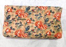 Indian Floral Beige Kantha Quilt Gudri-Handmade Twin Bedspreads Throw Ralli