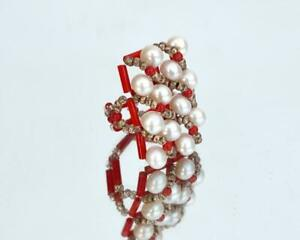 Red and white statement ring with real pearls R115