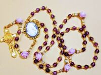 Beautiful Purple Amethyst Lavender Roses Mary Cameo Benedict Rosary Swarovski