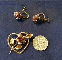 Vtg KREMENTZ Two Toned Gold Flower in Heart Brooch pin w/  screw back Earrings