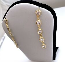 CZ By K SOLEIL Round Cut Cubic Zirconia Gold Plated Chain Dangle Stud Earrings