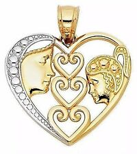 PENDANT HEART 14k solid real gold MOTHER Mom Baby CHILD 2.1g