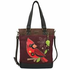 NEW CHALA BURGUNDY STRIPE CARDINAL RED BIRD WORK TOTE PURSE FAUX LEATHER  CANVAS 77248719e8c94