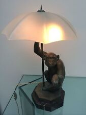 Original french style antique lamps ebay sale le verrier french patinated bronze finish frosted glass monkey lamp mozeypictures