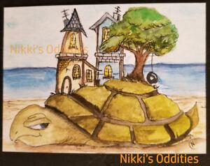 Aceo Tiny Town Sea Turtle House Tree Landscape Original Painting Nikki NFAC art