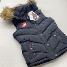 Women's Hooded Puffer Vest Canada Weather Gear Wnter Vest Fawx Fur Large NWT