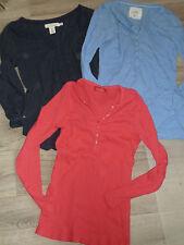 3x Langarm SHIRT - Longsleeve - hellblau blau pink * H&M + TCM * Gr. S M
