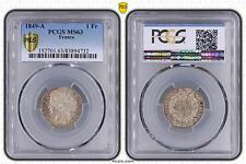 M5498 Rare 1 Franc Cérès 1849 A Paris PCGS MS63 SPLENDIDE Argent Silver