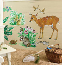 Wallies WOODLAND ANIMALS wall stickers MURAL 13 decals deer rabbit turtle birds