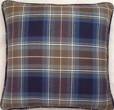 A 16 Inch Cushion Cover In Laura Ashley Tartan Blue fabric