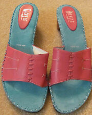 NEW Womens Nickels Blue & Pink Med Heel Shoes 10 M Leather Uppers