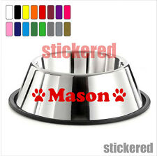2 x PERSONALISED NAME PAW DOG / CAT BOWL / BASKET / BED VINYL STICKERS / DECALS