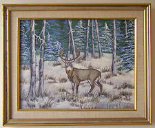 Original Acrylic Painting of a Deer in the Snow