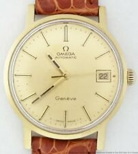 Scarce Vintage Omega 18K Gold Automatic 166.070 Date 565 Screw Back Mens Watch