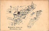 Richmond, INDIANA - DRAWING - Birdseye - 1912 - horse & wagon