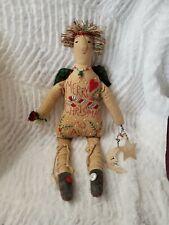 Christmas Angel Home Body Folk Art Doll Toni McCorkle Embroidered Hand Sewn