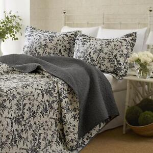 Laura Ashley Amberley Quilt Set, King (Black)