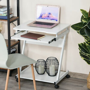 HOMCOM Movable Computer Desk with 4 Moving Wheels Sliding Keyboard Tray White