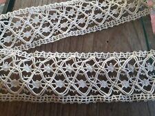 DRG09 Ancien galon dentelle écru lin fuseaux aiguil 3x195cm Old linen lace braid
