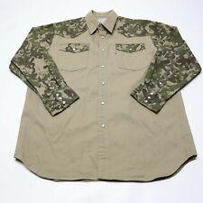 Carhartt Men's XL Khaki Camouflage Pearl Snap Long Sleeve Work Hunting Shirt EUC