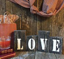 LOVE HOME Sign Inspirational Rustic Wedding Beach Country Farmhouse Wood Blocks