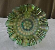 "FENTON ANTIQUE COIN DOT GREEN STIPPLED BOWL CARNIVAL GLASS CRE 9"" WIDE NICE!"