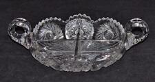 Cut Glass, Pinwheel, Four Compartment, Handled Nappy, Nut, Candy, Relish Dish