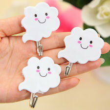 3X White Cloud Adhesive Sticky Stick On Wall Hooks Kitchen Bathroom Towel Hot