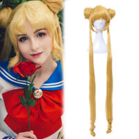 Tsukino Usagi Cosplay Wig Blonde Long Straight Bun Ponytails Bangs Hair Full Wig