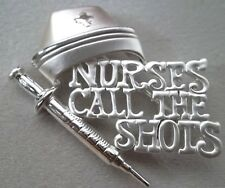 Shots! Script, Signed, Silver Plate, New Nurse Brooch Pin With Nurses Call The