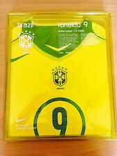 2004 BRAZIL HOME LIMITED EDITION #9 RONALDO PLAYER ISSUE BOXED SHIRT