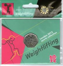 2012 50p OLYMPIC 27/29 WEIGHTLIFTING COIN HANGING BAG BRILLIANTLY UNCIRCULATED @