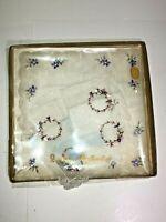 Vintage Cotton Made in Switzerland Embroidered Handkerchief Set os 2 in Box