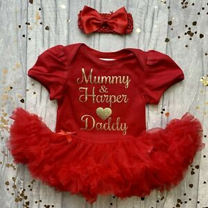 PERSONALISED NEWBORN TUTU ROMPER, Gold Mummy Daughter Love Daddy, Father's Day