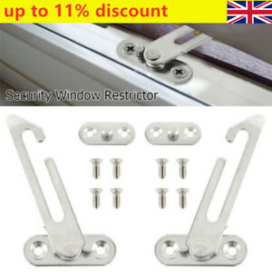 4x Security Window Restrictor Safety Child Locks Catch Door Ventilator Screws UK