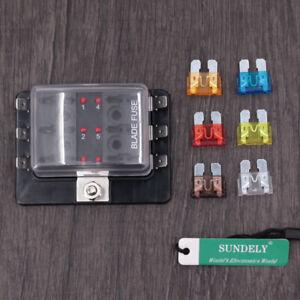 AU 6-Way Blade Fuse Box Block Holder LED Indicator for Car Boat 12V 24V 32V New
