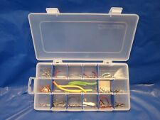 TACKLE BOX + FISHING LURES HOOKS FLAMBEAU ADJUSTABLE POCKET PLASTIC CASE KIT