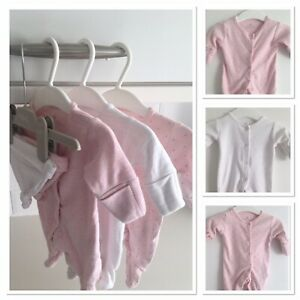 NEXT Baby Girl Tiny Early Prem Clothes Sleepsuit Bundle Delicate Pink White 5lbs