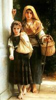 Oil canvas William-Adolphe Bouguereau - Petites mendiantes Little beggars sister