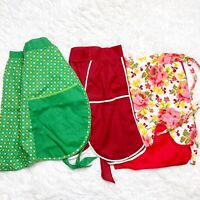 Lot of 3 Vintage Half Aprons Cotton Red Organza Handmade Green Floral Reversible