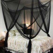 Post Bed Canopy Mosquito Net Full Queen King Size Black 4 Corner Netting Bedding