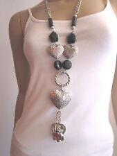 Modekette lang Damen Hals Kette Bettelkette Silber Schwarz Lagenlook Herz H8